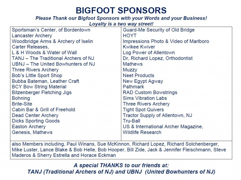Bigfoot 2015 Sponsors